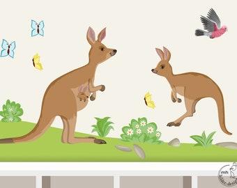 """Wall Decal """"Kangaroo SET II. BIG"""" Baby Room Nursery Wall Sticker Australia"""