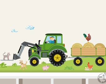 """Wall Decal """"Tractor trailer MIDI  front loader with pallet fork"""" nursery Baby Room Wall Stickers Wall Decals farmer farm"""