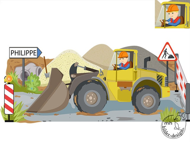 Wandtattoo Bulldozer Baustelle Farbwahl Radlader | Etsy