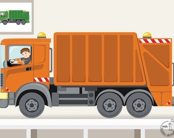 """Wall decal """"Garbage truck XXL"""" customization Garbage collection"""