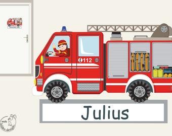 """Wall decal """"fire truck II. door sign"""" fire department customizable wall sticker for boys nursary"""