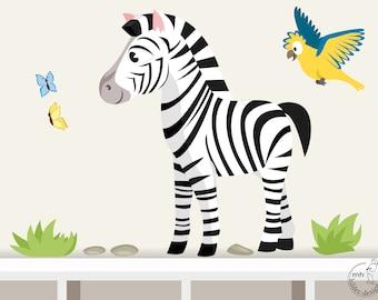"Wall decal ""Zebra safari"" from animal series africa children nursery"