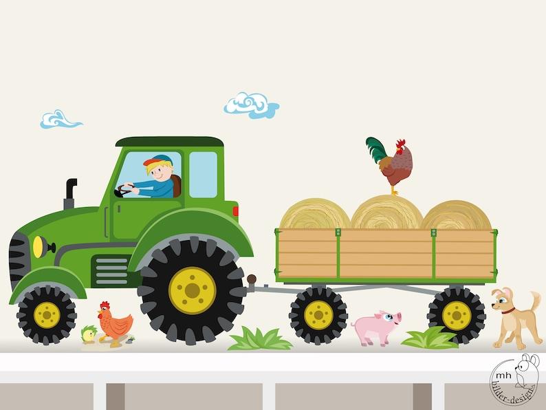 Wall Decal Tractor trailer MIDI nursery Baby Room image 0