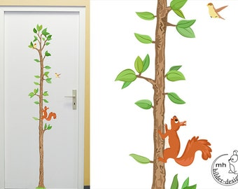 """Wall decal """"Growth Chart Tree with squirrel"""" nursery wall sticker wood forest animals for children Measuring"""