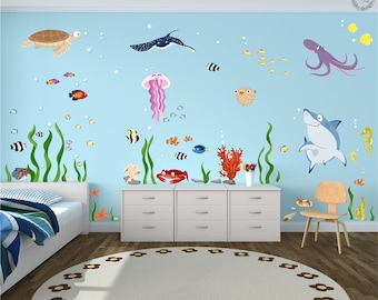 "Wall decal Set ""Ocean"" Underwater World XXL Baby nursery marine animals sea ocean"