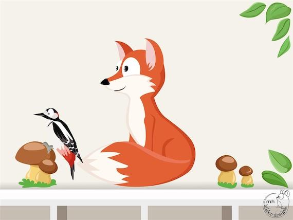 Wandtattoo Fuchs Waldtiere I Kinderzimmer Specht Etsy
