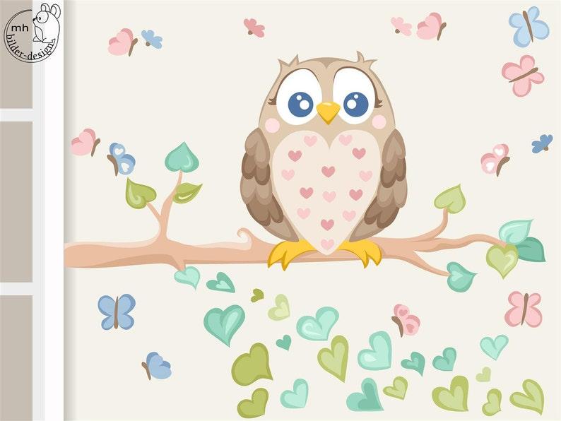 Wandtattoo Eule mit Schmetterlingen Kinderzimmer | Etsy