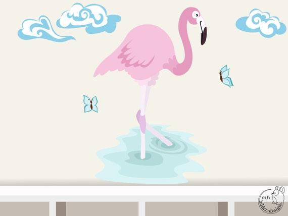 Wandtattoo flamingo welttiere serie wandsticker - Flamingo wandtattoo ...