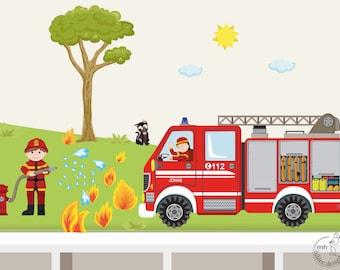 "Wall decal ""firefighter set XS"" fire department customizable wall sticker for boys"