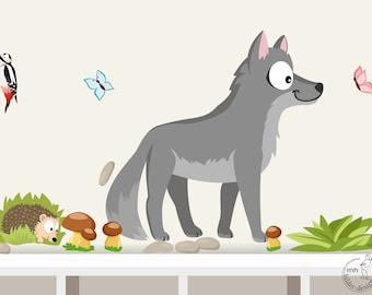 """Wall decal """"wolf and hedgehog"""""""