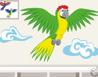 Wall decal parrot