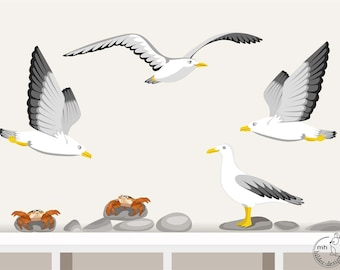 """Wall Decal """"Seagull with crab"""" nursery baby children's room decorations for wall sticker"""