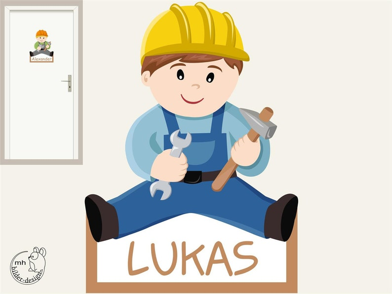 craftsman boy nursery Wall decal Construction worker Door sign tag construction site