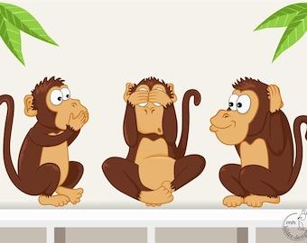 Wall decal three wise monkeys