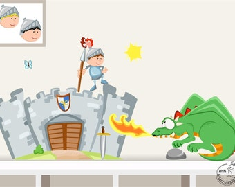 """Wall decal """"knight's castle with knight and dragon"""" for boys kids nursary wall stickers"""