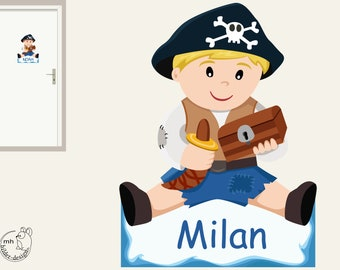 """Wall decal """"Pirate"""" door sign, personalized with name, name sign, name door, boy, child's room wall sticker"""