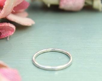 1 Silver Hammered Stacking Ring