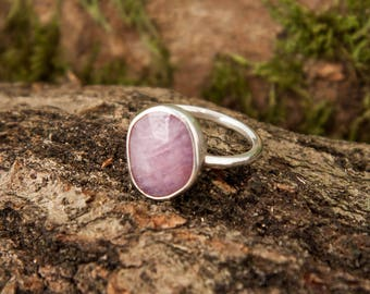 Sapphire Ring, Pink Sapphire & Sterling Silver