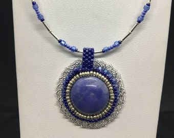 Bead Embroidered Blue Natural Stone Choker Necklace