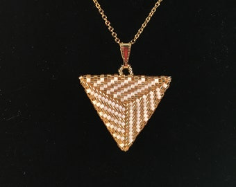 Handmade Bead Woven Peyote Gold and White Triangle Pendant Necklace With Earrings Set
