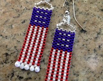 Patriotic Dangle Flag Earrings