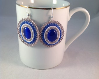 Bead Embroidered Blue Glass Cabachon Handmade Earrings