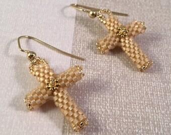Handmade Bead Woven Soft Gold Cross Earrings