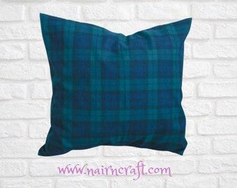 Tartan Pillow Farmhouse Pillow Cover in Black Watch Tartan Plaid use as Christmas Decor
