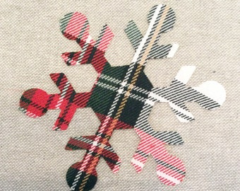 Custom Made Snowflake Applique Patches in Dress Stewart Tartan Plaid Fabric, Cut Out  Iron On or Sew On Christmas Appliques, Decorations