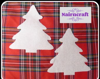 Christmas Tree Applique Patch in White & Silver Cotton Fabric. Cut Out Iron On or Sew On Embellishment Decoration