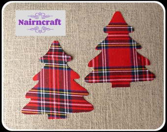 Tartan Plaid Christmas Tree Applique Patch in Red Royal Stewart Cotton Flannel Fabric. Cut Out Iron On or Sew On Embellishment Decoration