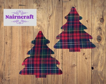 Tartan Plaid Christmas Tree Applique Patch in  Christmas Tartan Cotton Mix Fabric. Cut Out Iron On or Sew On Embellishment Decoration