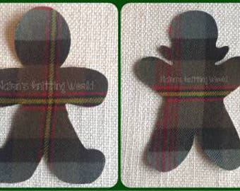 Gingerbread Man Applique Patches Gingerbread Kids, Brown Tartan Wool Fabric. Cut Out Iron On or Sew On Christmas Decorations