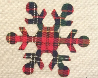 Custom Made Snowflake Applique Patches in Christmas Tartan Plaid Fabric, Cut Out  Iron On or Sew On Christmas Appliques, Decorations