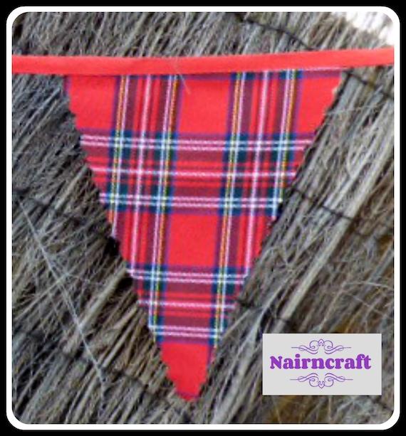 Tartan Plaid Wedding Bunting handmade of Royal Stewart Tartan Pennants Flags ideal for Burns Night or Scottish Wedding Party Decoration