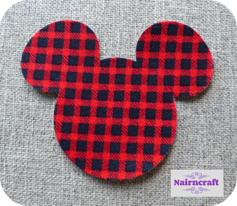 2976438b7b2 Mouse Head Applique Patches in Red Buffalo Plaid Cotton Fabric   Etsy