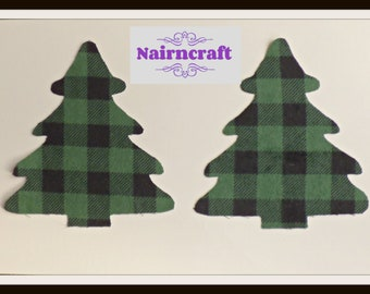 Buffalo Plaid Christmas Tree Applique Patch in Green Lumberjack Cotton Flannel Fabric. Cut Out Iron On or Sew On Embellishment Decoration
