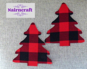 Buffalo Plaid Fir Tree Applique Patch in Red Lumberjack Flannel Cotton Flannel Fabric. Cut Out Iron On or Sew On Embellishment Decoration