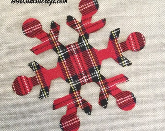 Custom Made Snowflake Applique Patches in Mini Stewart Tartan Plaid Fabric, Cut Out  Iron On or Sew On Christmas Appliques, Decorations