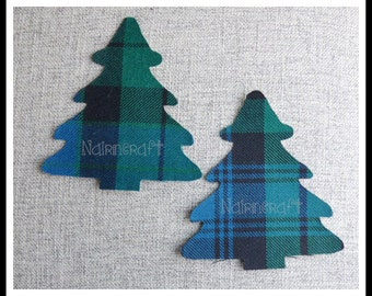 Christmas Trees - Applique - Patches - Motifs - Scottish - Tartan - Wool Fabric - Cut Out - Iron On - Sew On - Decorations - Embellishments