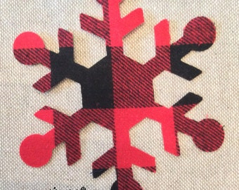 Custom Made Snowflake Applique Patches in Red & Black Lumberjack Buffalo Plaid Fabric, Cut Out  Iron On or Sew On Christmas Appliques