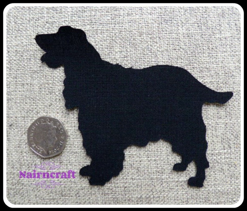 Fabric Dark Brown Applique Sew On Cut Out lab dog Iron Large Dog