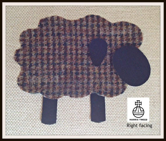 Highland Sheep Iron On Patch Cut Out Sew On. Beige Tartan Applique