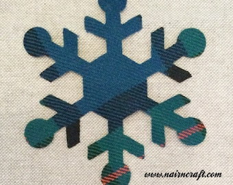 Custom Made Snowflake Applique Patches in Green Tartan Plaid Fabric, Cut Out  Iron On or Sew On Christmas Appliques, Decorations