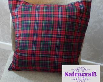 Tartan Pillow Farmhouse Pillow Cover in Red and Green Tartan Plaid use as Christmas Decor