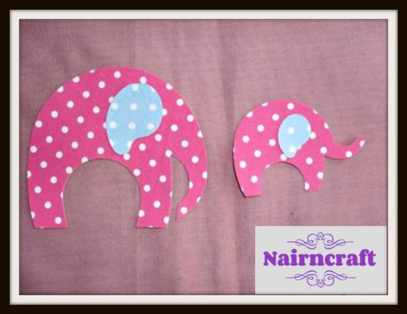 BRAND NEW PINK GREY BABY ELEPHANT IRON ON APPLIQUE MOTIF PATCH