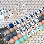 Custom PERSONALIZED Silicone Teething Pacifier Clip - Bite Beads Universal Soother Clip - Teether Chew Toy Beads - with Spacer Beads