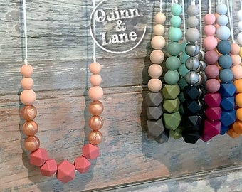 Silicone Teething Necklace CHOOSE COLOR - Bite Beads Nursing Necklace Jewelry - Teether Chewing Beads - Chew Jewelry Beads  - Ombre