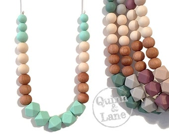 Silicone Teething Necklace CHOOSE COLOR - Bite Beads Nursing Necklace  - Teether Chewing Beads - Chew Jewelry Beads  - Color Block Hex