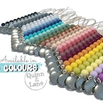 Pacifier Clip - Silicone Teething Choose Color - Baby Toy - Bite Beads Soother Clip - Chew Toy - Chewing Beads Clip - Simple Classic
